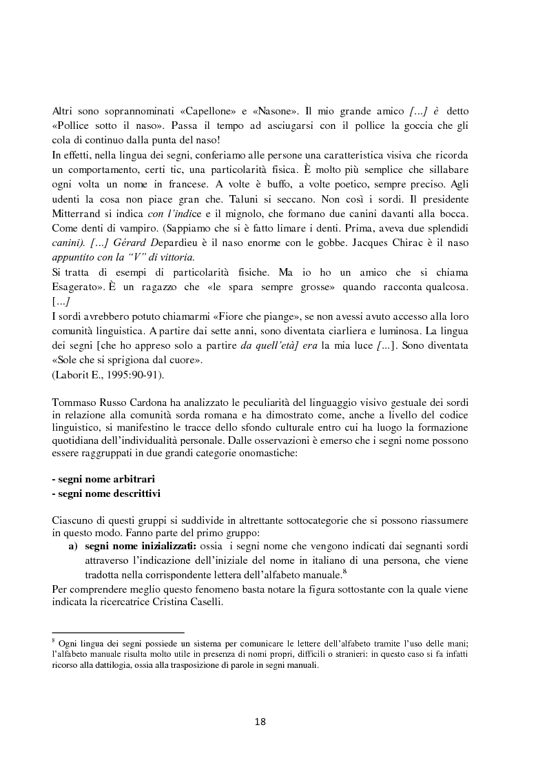Anteprima della tesi: Lingua dei segni italiana e tedesca: un'analisi comparativa. Il campo semantico dei mestieri e degli animali., Pagina 12