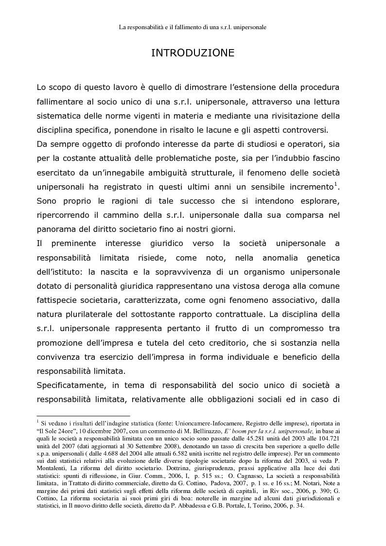 Anteprima della tesi: La responsabilità e il fallimento del socio unico di una s.r.l. unipersonale, Pagina 1