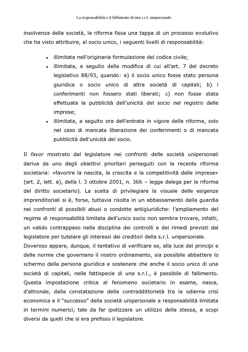 Anteprima della tesi: La responsabilità e il fallimento del socio unico di una s.r.l. unipersonale, Pagina 2