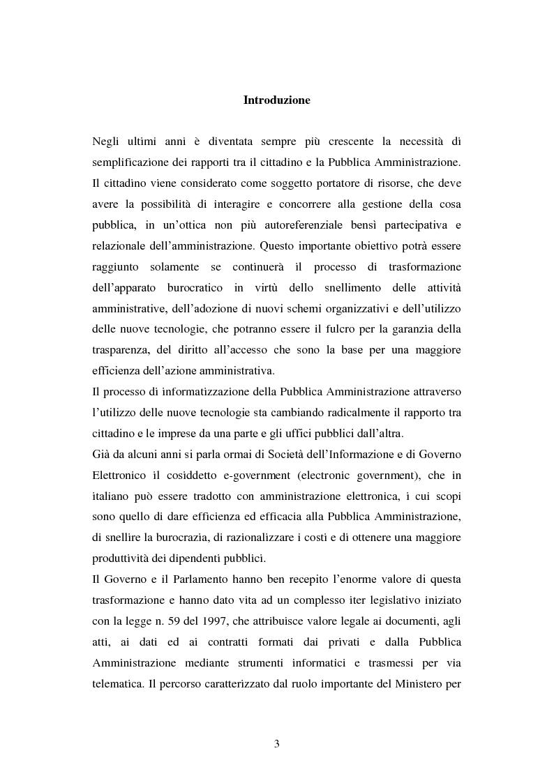 Anteprima della tesi: Erogazione elettronica di servizi (e-government) e informazioni ai cittadini, Pagina 1
