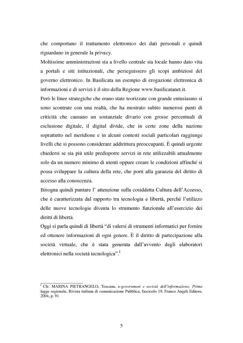 Anteprima della tesi: Erogazione elettronica di servizi (e-government) e informazioni ai cittadini, Pagina 3