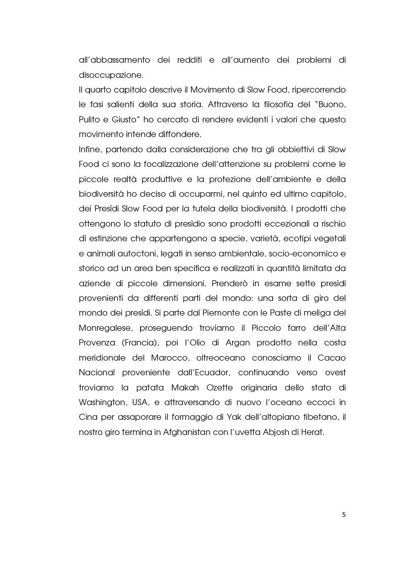 Anteprima della tesi: I consumi alimentari sostenibili e l'attività di Slow Food, Pagina 3