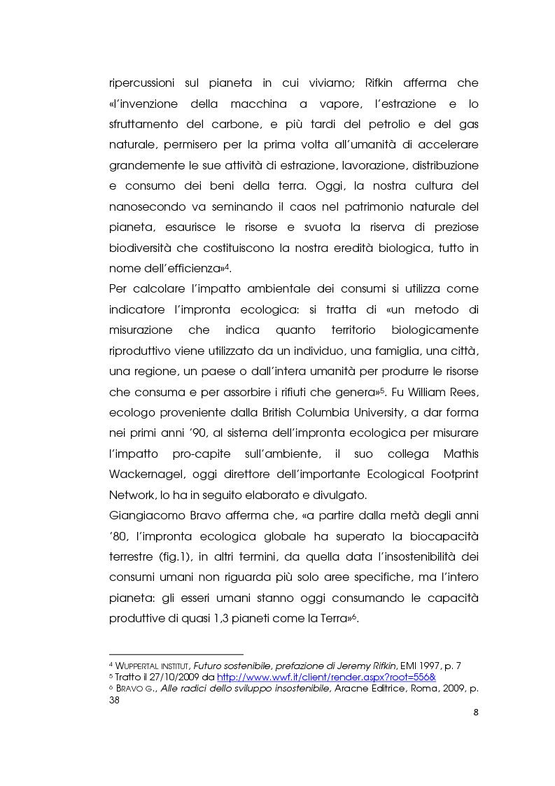 Anteprima della tesi: I consumi alimentari sostenibili e l'attività di Slow Food, Pagina 6