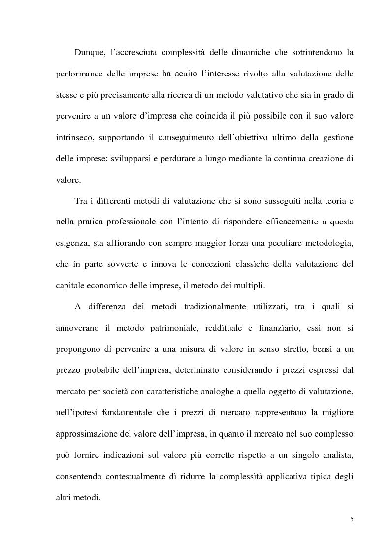 Anteprima della tesi: Il metodo dei multipli nella valutazione delle aziende: il caso delle initial public offering, Pagina 2