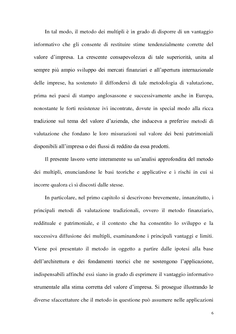 Anteprima della tesi: Il metodo dei multipli nella valutazione delle aziende: il caso delle initial public offering, Pagina 3