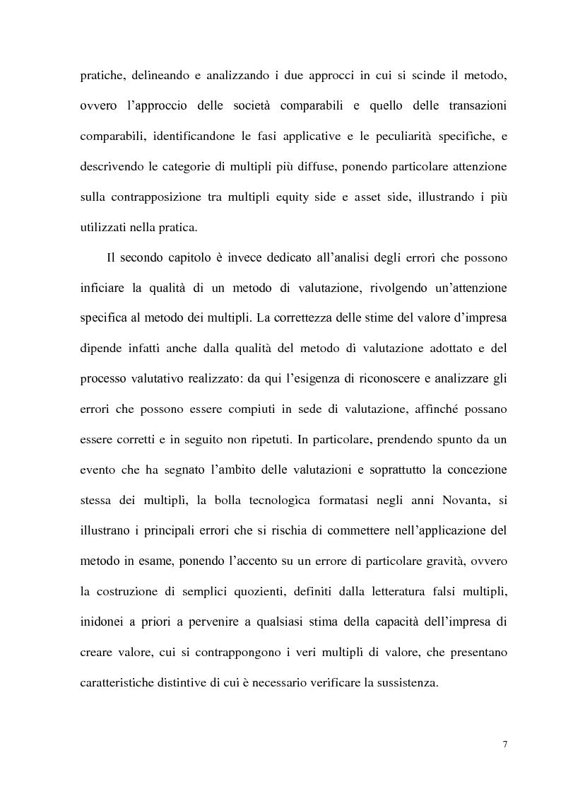 Anteprima della tesi: Il metodo dei multipli nella valutazione delle aziende: il caso delle initial public offering, Pagina 4