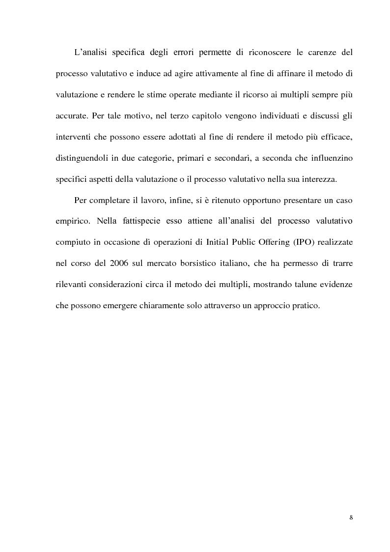 Anteprima della tesi: Il metodo dei multipli nella valutazione delle aziende: il caso delle initial public offering, Pagina 5