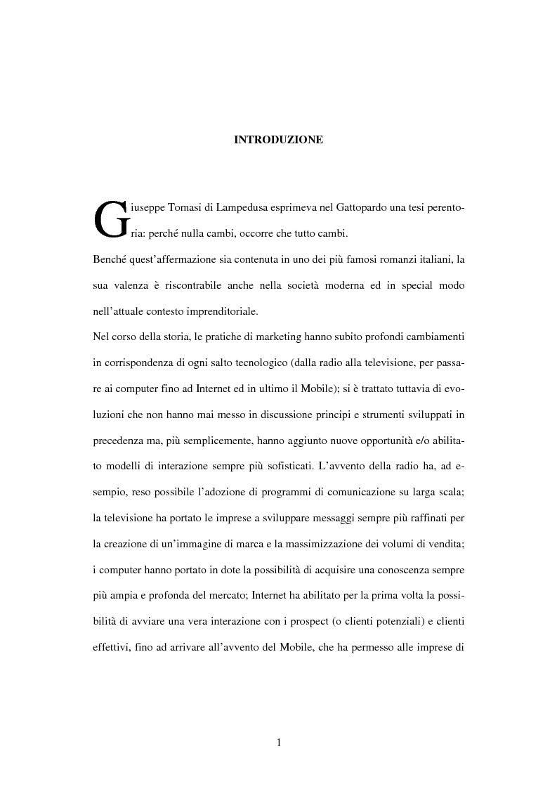 Anteprima della tesi: Il mobile marketing: caratteri, strumenti ed esperienze aziendali, Pagina 1