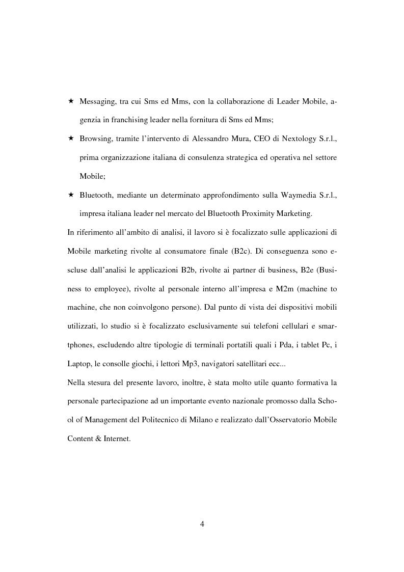 Anteprima della tesi: Il mobile marketing: caratteri, strumenti ed esperienze aziendali, Pagina 4