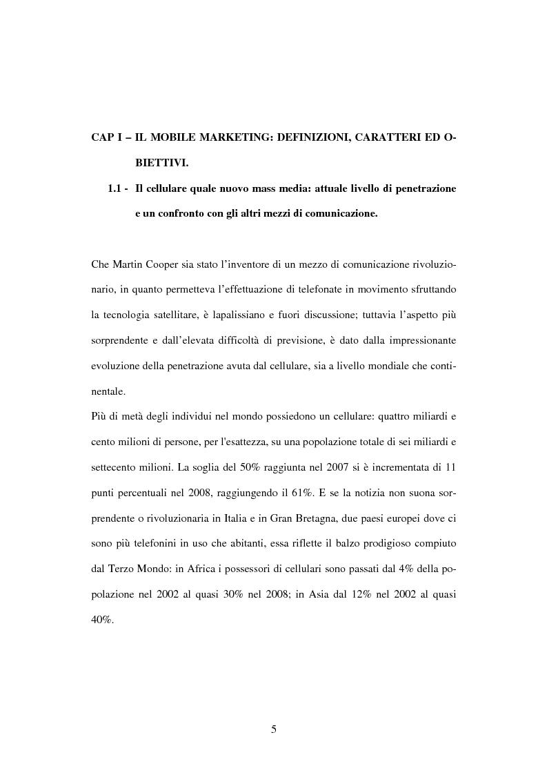 Anteprima della tesi: Il mobile marketing: caratteri, strumenti ed esperienze aziendali, Pagina 5