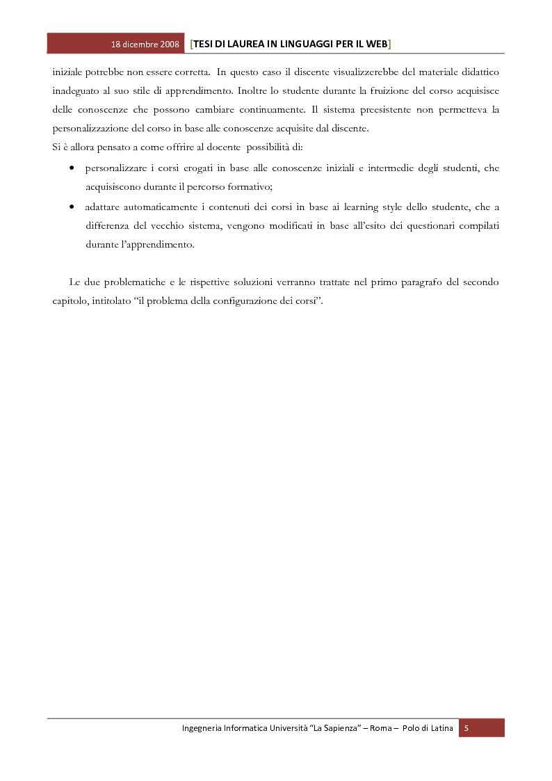 Anteprima della tesi: Sviluppo software di un sistema per la web-based learning: gestione della personalizzazione e dell'adattatività in base alle conoscenze possedute ed acquisite dal discente, Pagina 3