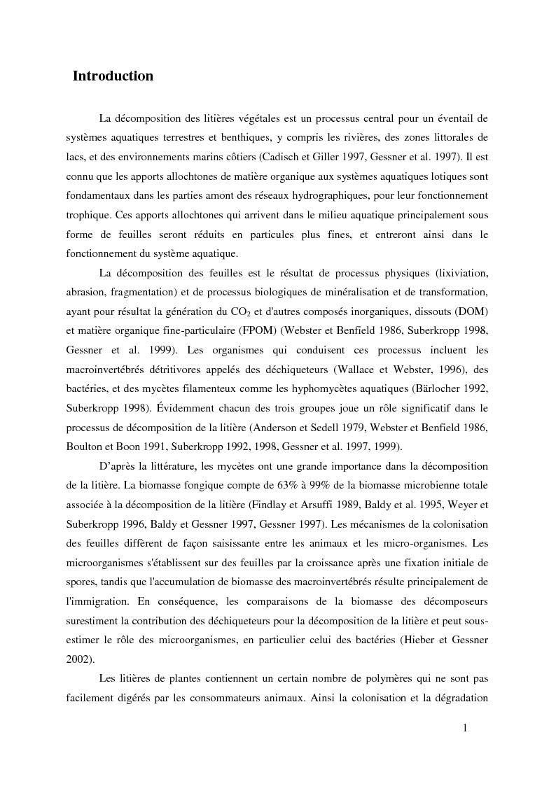 Anteprima della tesi: Variabilité spécifique et intraspécifique des activités enzymatiques produites par les hyphomycètes aquatiques, Pagina 1