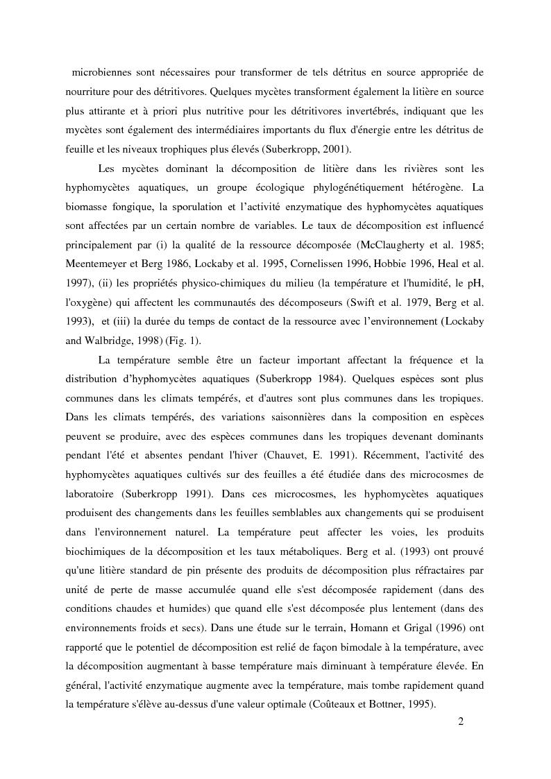 Anteprima della tesi: Variabilité spécifique et intraspécifique des activités enzymatiques produites par les hyphomycètes aquatiques, Pagina 2