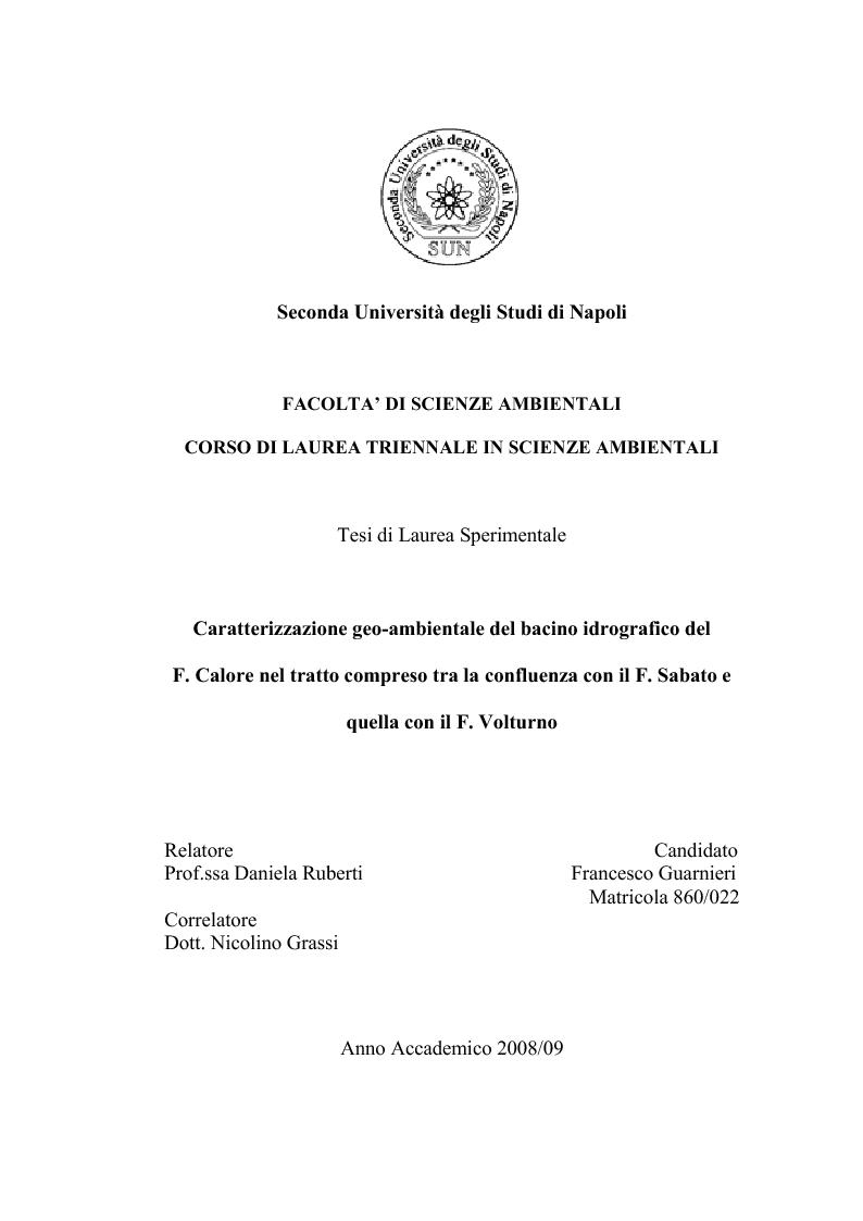 Anteprima della tesi: Caratterizzazione geo-ambientale del bacino idrografico del F. Calore nel tratto compreso tra la confluenza con il F. Sabato e quella con il F. Volturno, Pagina 1