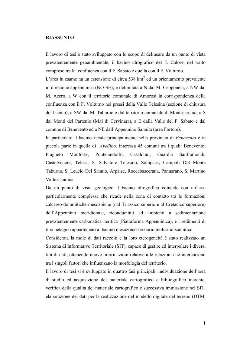 Anteprima della tesi: Caratterizzazione geo-ambientale del bacino idrografico del F. Calore nel tratto compreso tra la confluenza con il F. Sabato e quella con il F. Volturno, Pagina 2