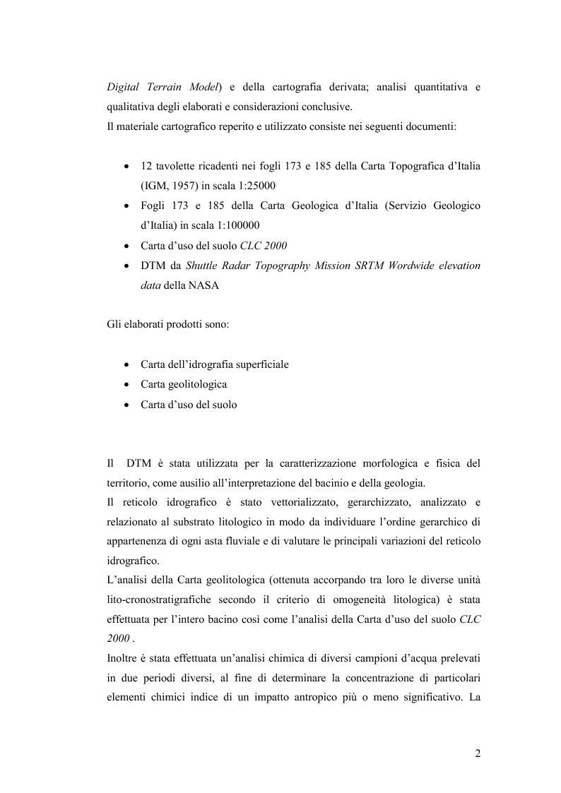 Anteprima della tesi: Caratterizzazione geo-ambientale del bacino idrografico del F. Calore nel tratto compreso tra la confluenza con il F. Sabato e quella con il F. Volturno, Pagina 3