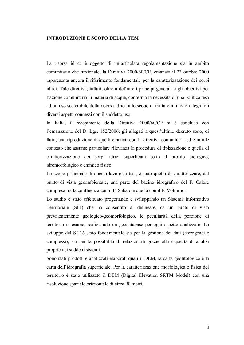 Anteprima della tesi: Caratterizzazione geo-ambientale del bacino idrografico del F. Calore nel tratto compreso tra la confluenza con il F. Sabato e quella con il F. Volturno, Pagina 5
