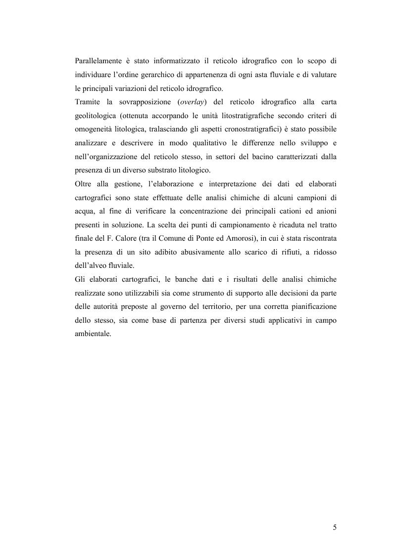 Anteprima della tesi: Caratterizzazione geo-ambientale del bacino idrografico del F. Calore nel tratto compreso tra la confluenza con il F. Sabato e quella con il F. Volturno, Pagina 6