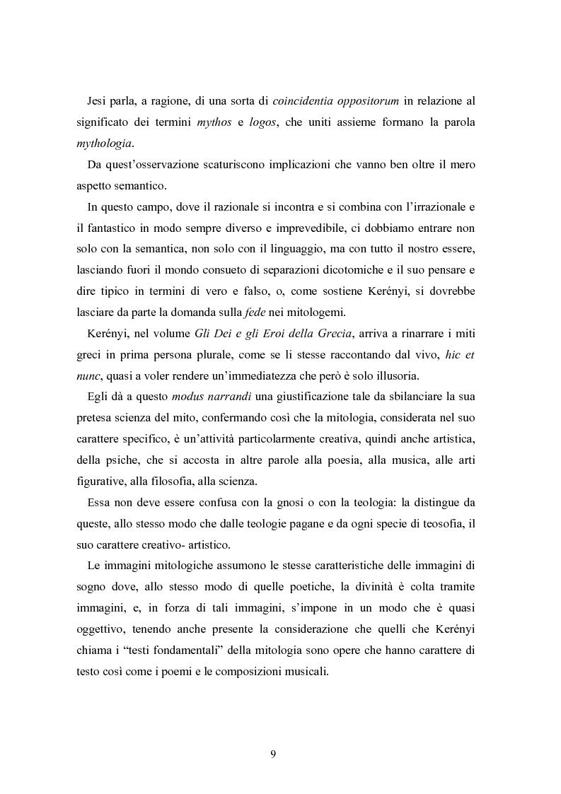 Anteprima della tesi: Mitologia, mito e mito dell'uomo in Karoly Kerenyi, Pagina 7