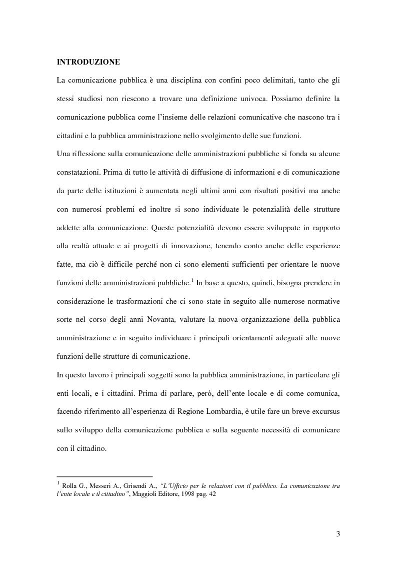 Anteprima della tesi: La comunicazione pubblica e istituzionale di Regione Lombardia, Pagina 1