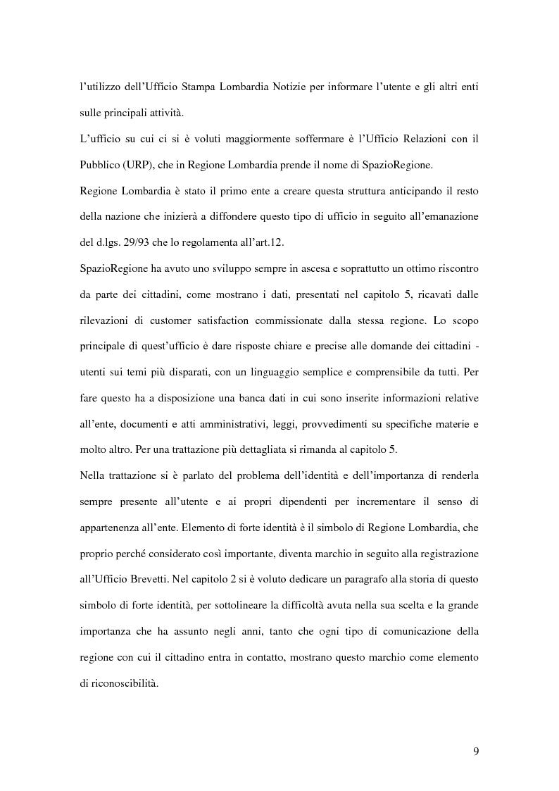 Anteprima della tesi: La comunicazione pubblica e istituzionale di Regione Lombardia, Pagina 7
