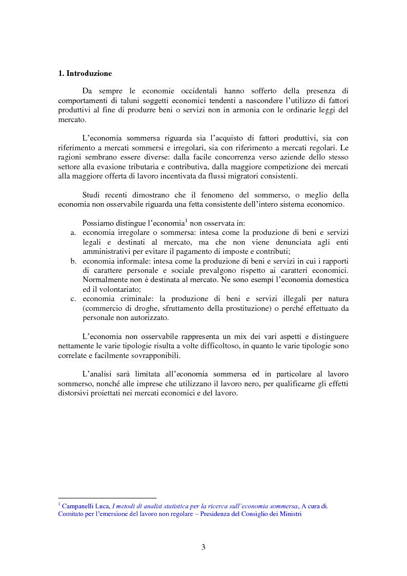 Anteprima della tesi: La domanda, l'offerta di lavoro e l'economia sommersa: analisi economica ed effetti distorsivi del mercato, Pagina 1