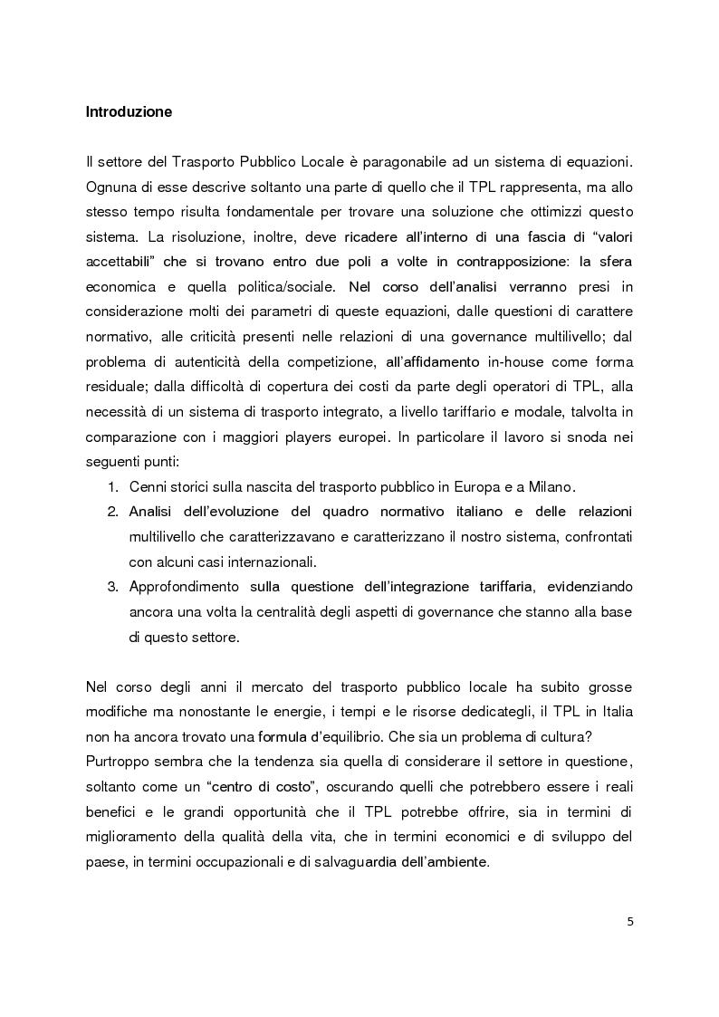 Anteprima della tesi: Sistemi di governance e modelli di integrazione tariffaria nel trasporto pubblico locale, Pagina 1
