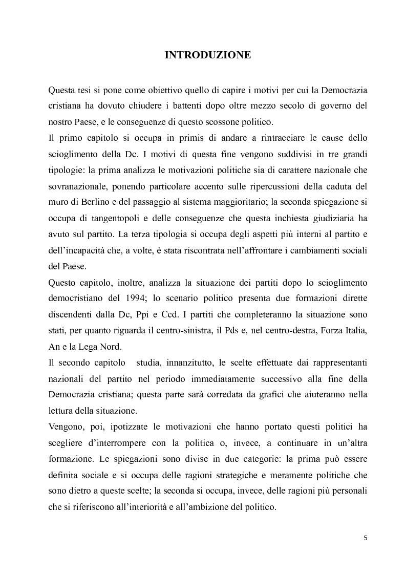 Anteprima della tesi: La diaspora democristiana dopo la fine della prima repubblica, Pagina 1