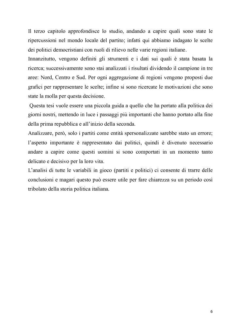 Anteprima della tesi: La diaspora democristiana dopo la fine della prima repubblica, Pagina 2