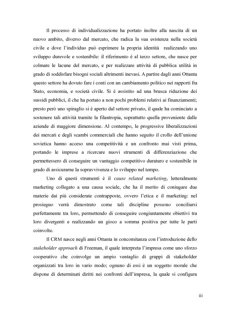 Anteprima della tesi: Il cause-related marketing e la responsabilità sociale delle imprese, Pagina 3