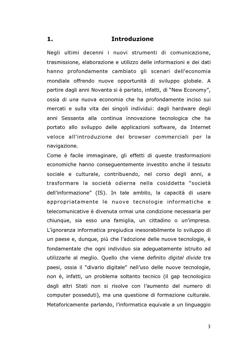 Anteprima della tesi: Le conseguenze economiche delle nuove tecnologie di comunicazione, Pagina 1