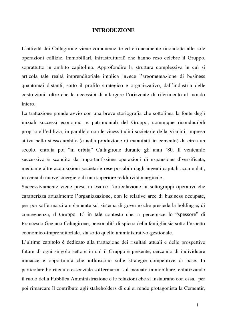 Anteprima della tesi: Strategia e struttura del Gruppo Caltagirone, Pagina 1