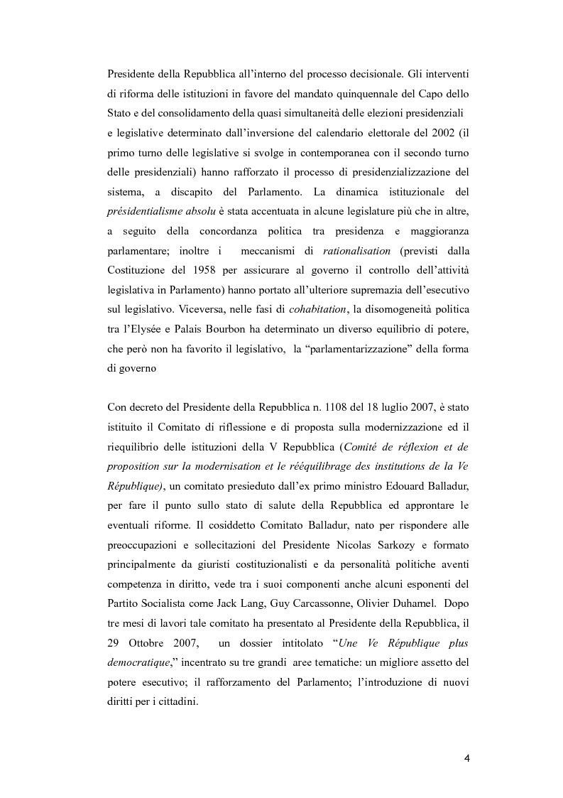 Anteprima della tesi: Il Parlamento nella riforma costituzionale francese del luglio 2008, Pagina 2