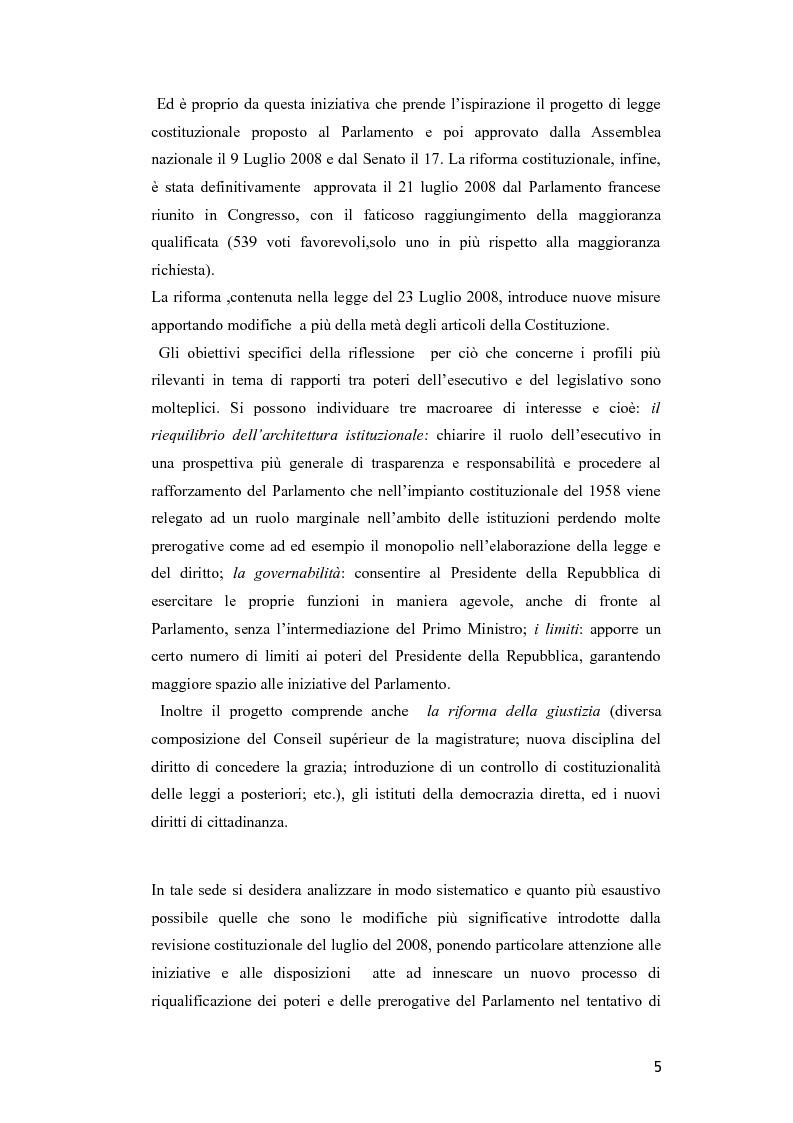 Anteprima della tesi: Il Parlamento nella riforma costituzionale francese del luglio 2008, Pagina 3