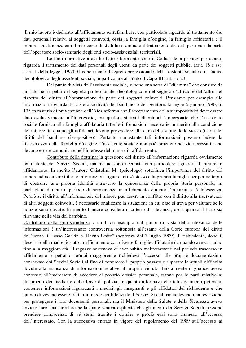 Anteprima della tesi: Affidamento extrafamiliare e segreti: quali diritti e quali doveri per i soggetti coinvolti?, Pagina 1