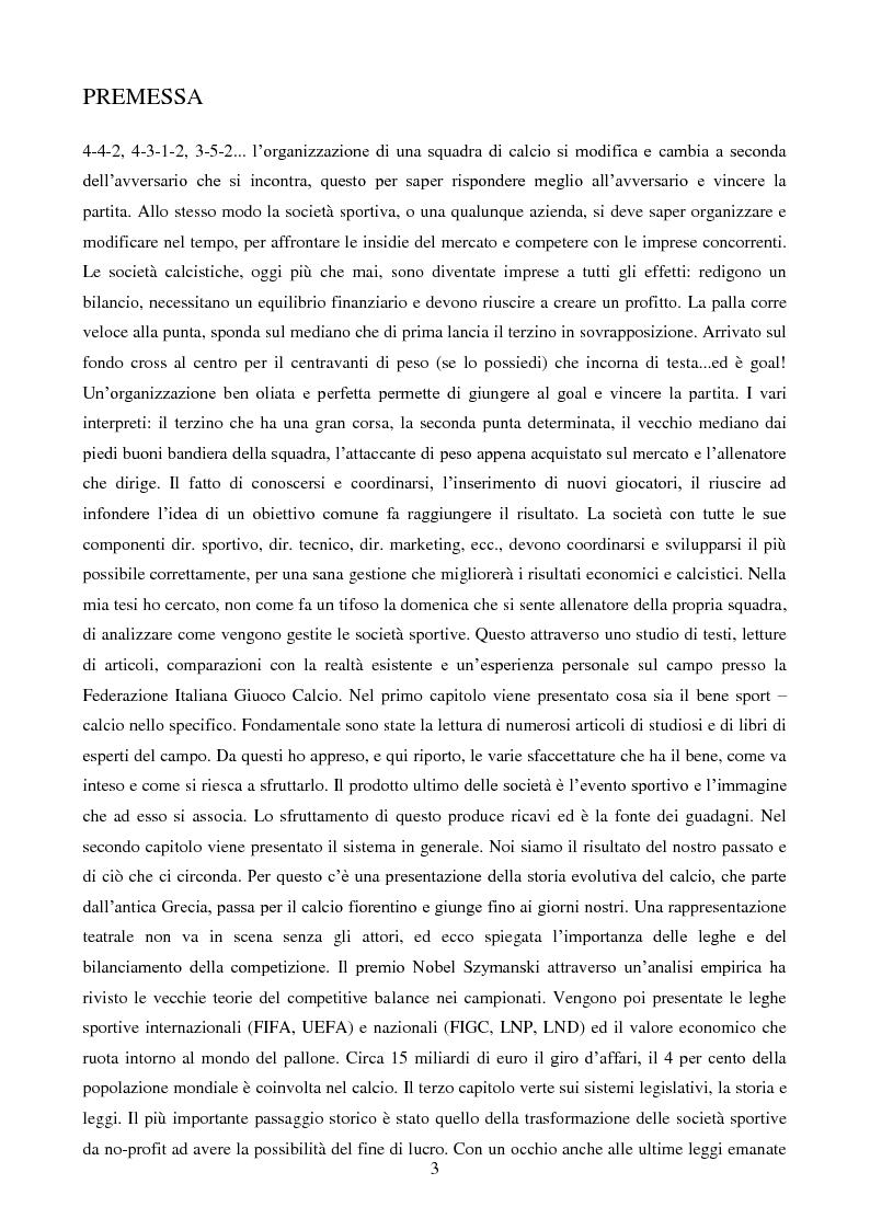 Anteprima della tesi: Organizzazione aziendale delle società sportive, Pagina 1