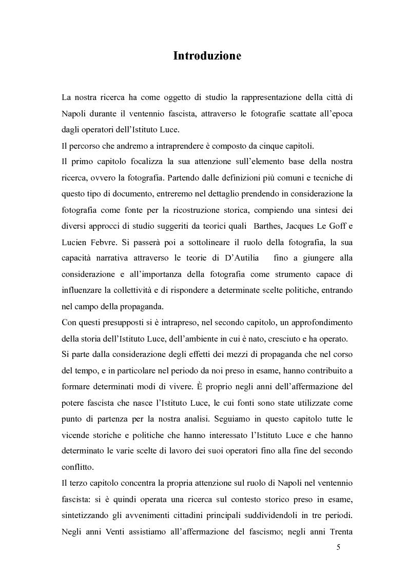 Anteprima della tesi: Il fascismo a Napoli nelle fotografie dell'Istituto Luce, Pagina 1