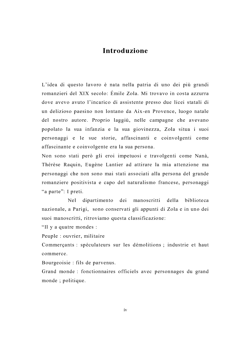 Anteprima della tesi: La figura del religioso nelle opere di Emile Zola, Pagina 1