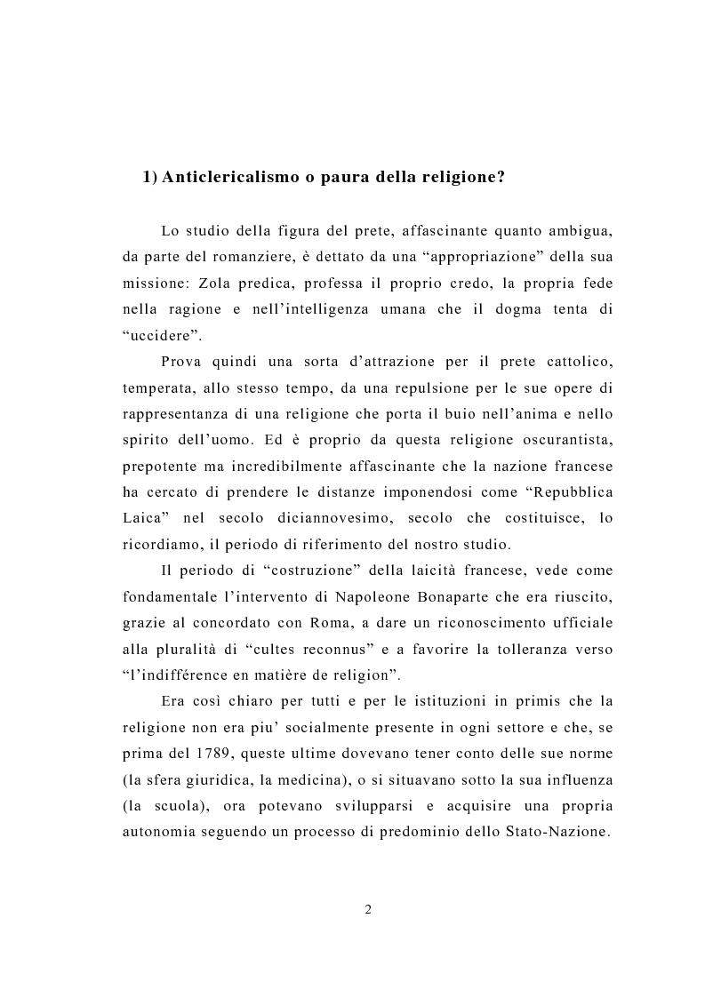 Anteprima della tesi: La figura del religioso nelle opere di Emile Zola, Pagina 6