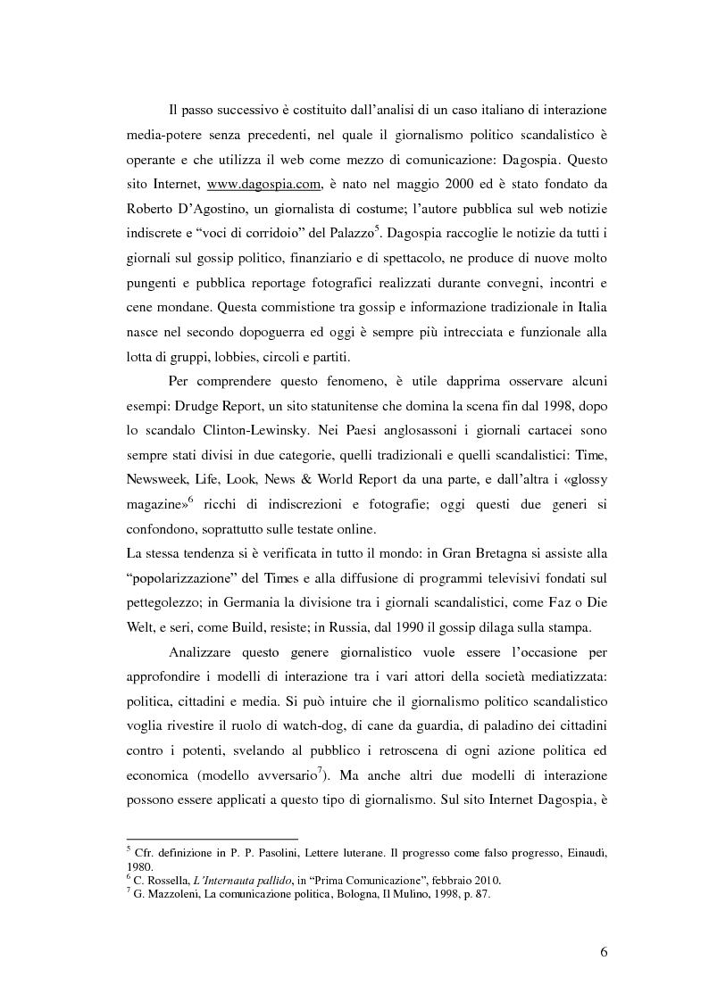 Anteprima della tesi: Il giornalismo politico scandalistico e la sua deriva in Dagospia, Pagina 3