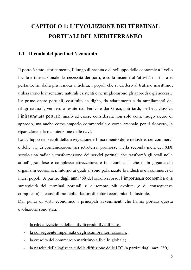 Anteprima della tesi: Il problema del vantaggio competitivo nei terminal portuali, Pagina 1