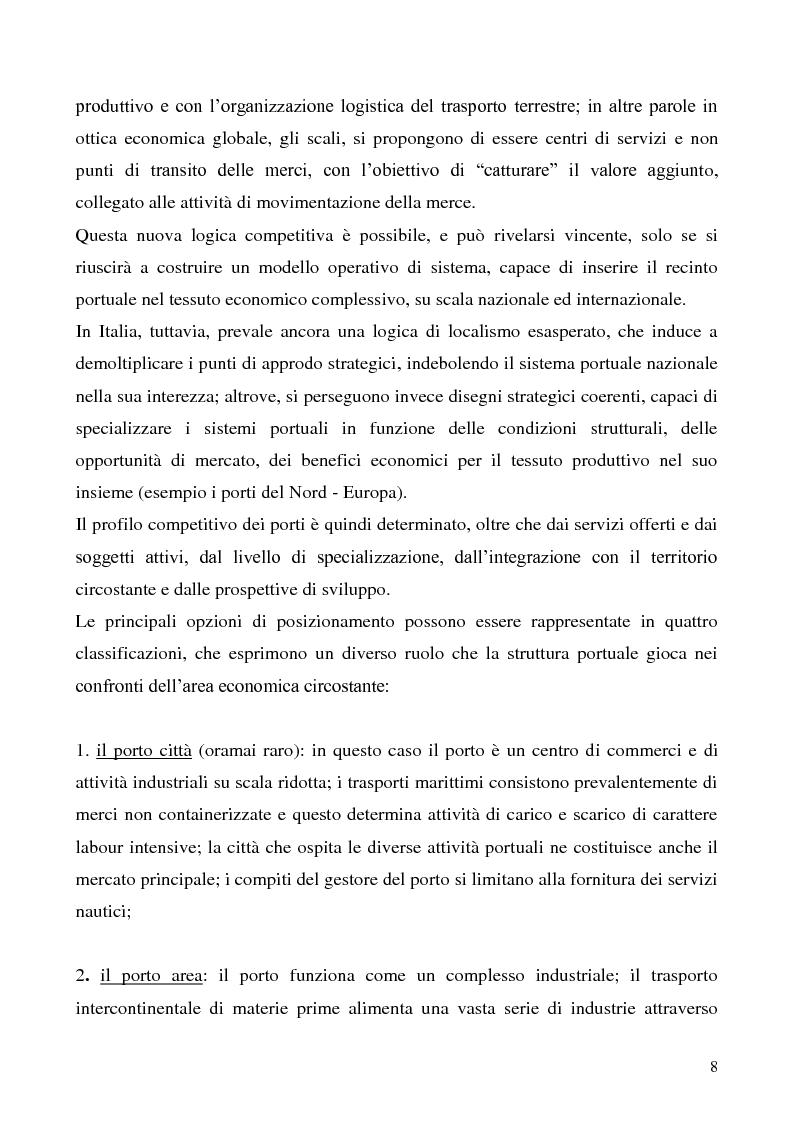 Anteprima della tesi: Il problema del vantaggio competitivo nei terminal portuali, Pagina 4