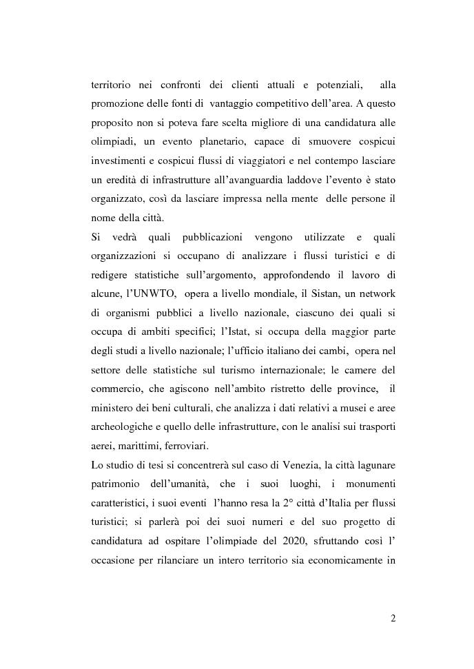 Anteprima della tesi: Gli eventi e i flussi turistici: il progetto Venezia 2020, Pagina 2