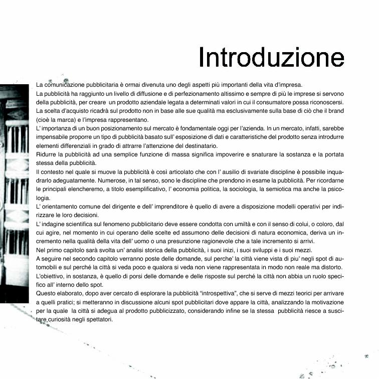 Anteprima della tesi: La città nella pubblicità, Pagina 1