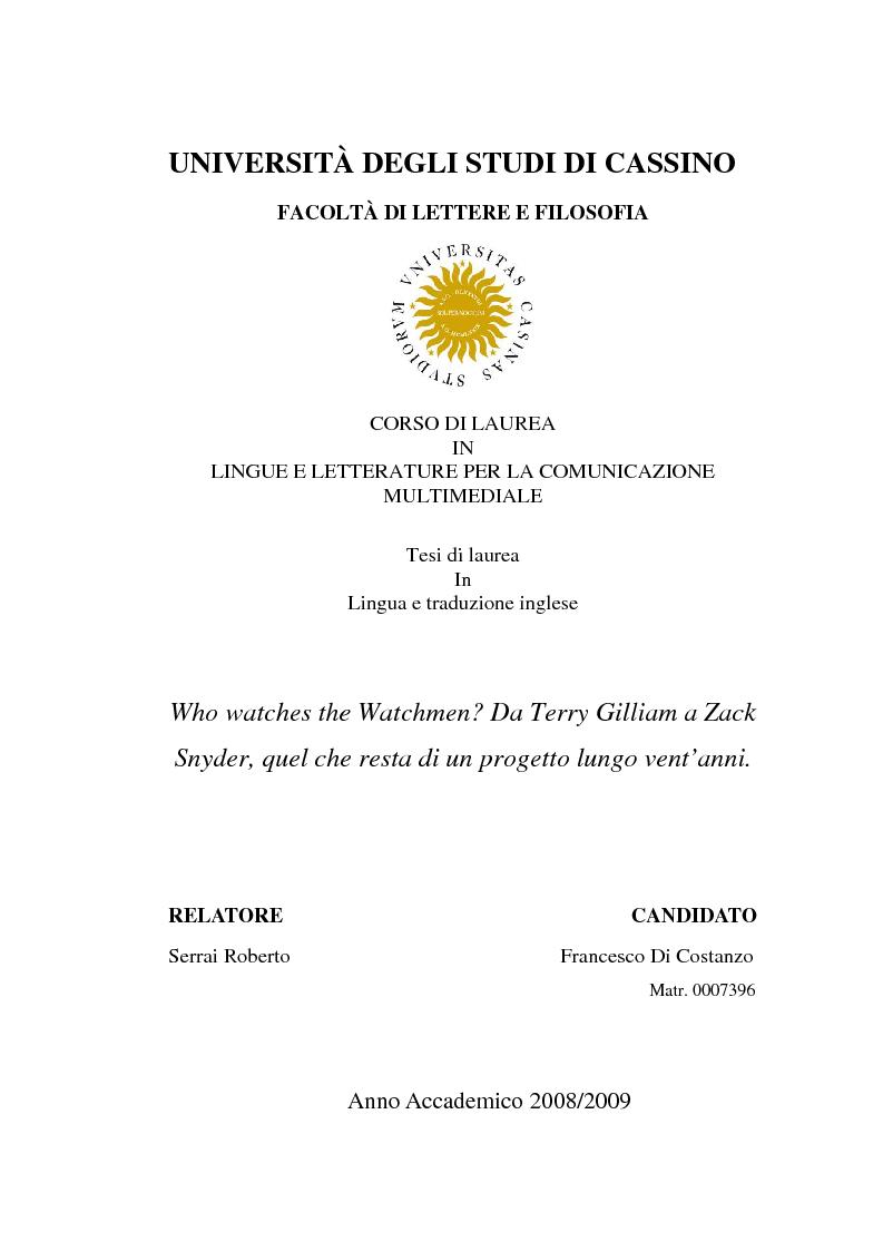 Anteprima della tesi: Who watches the Watchmen? Da Terry Gilliam a Zack Snyder, quel che resta di un progetto lungo vent'anni. , Pagina 1
