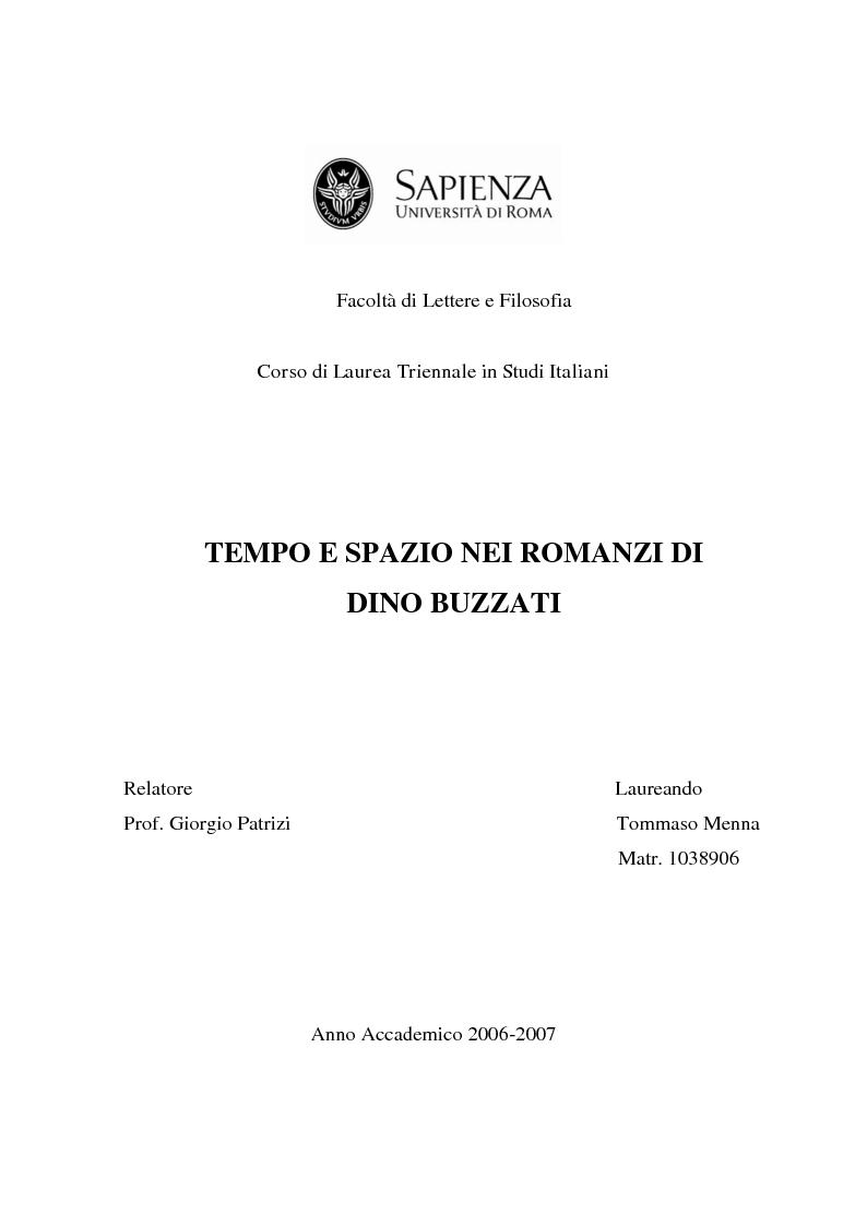 Anteprima della tesi: Tempo e spazio nei romanzi di Dino Buzzati, Pagina 1