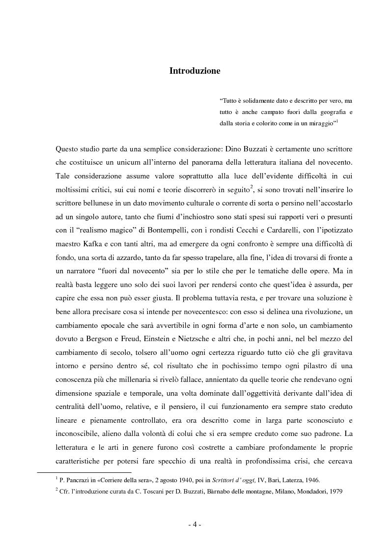 Anteprima della tesi: Tempo e spazio nei romanzi di Dino Buzzati, Pagina 2