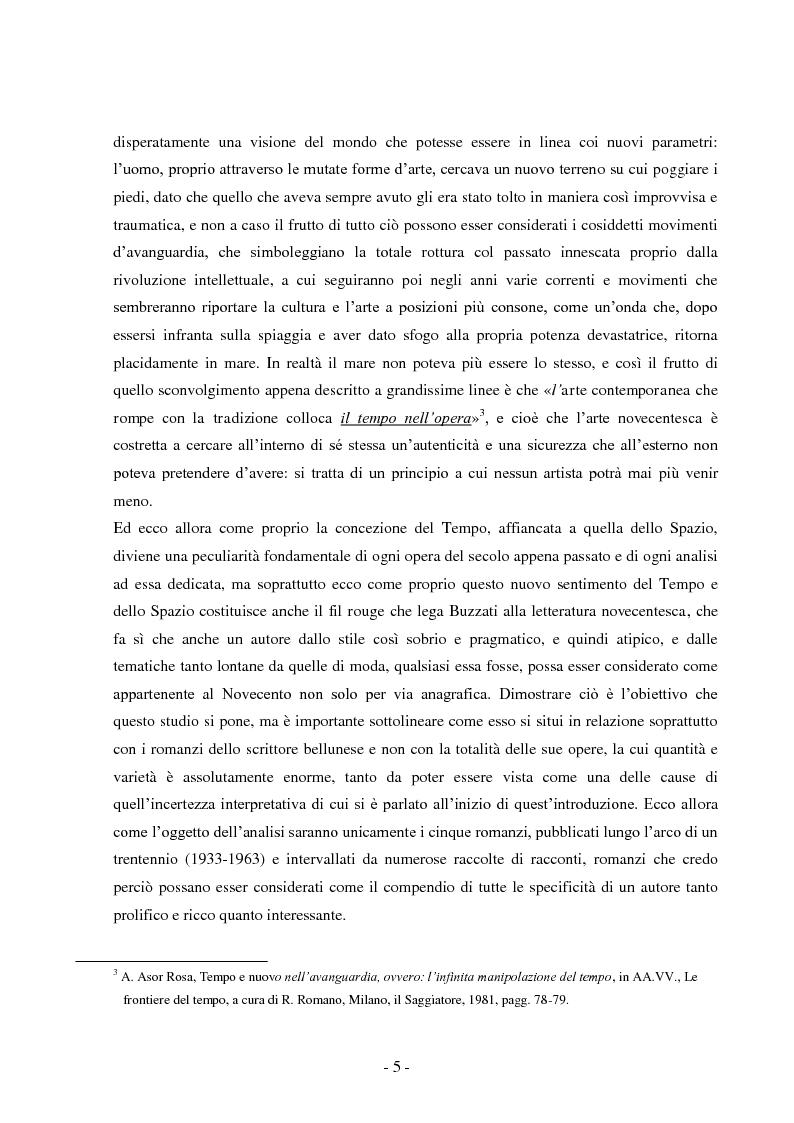 Anteprima della tesi: Tempo e spazio nei romanzi di Dino Buzzati, Pagina 3