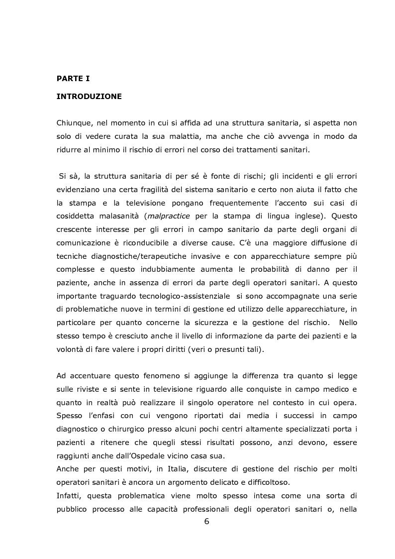 Anteprima della tesi: Progetto Sicurezza: qualità e competenza due fondamentali requisiti nella gestione del rischio clinico in emodialisi, Pagina 1