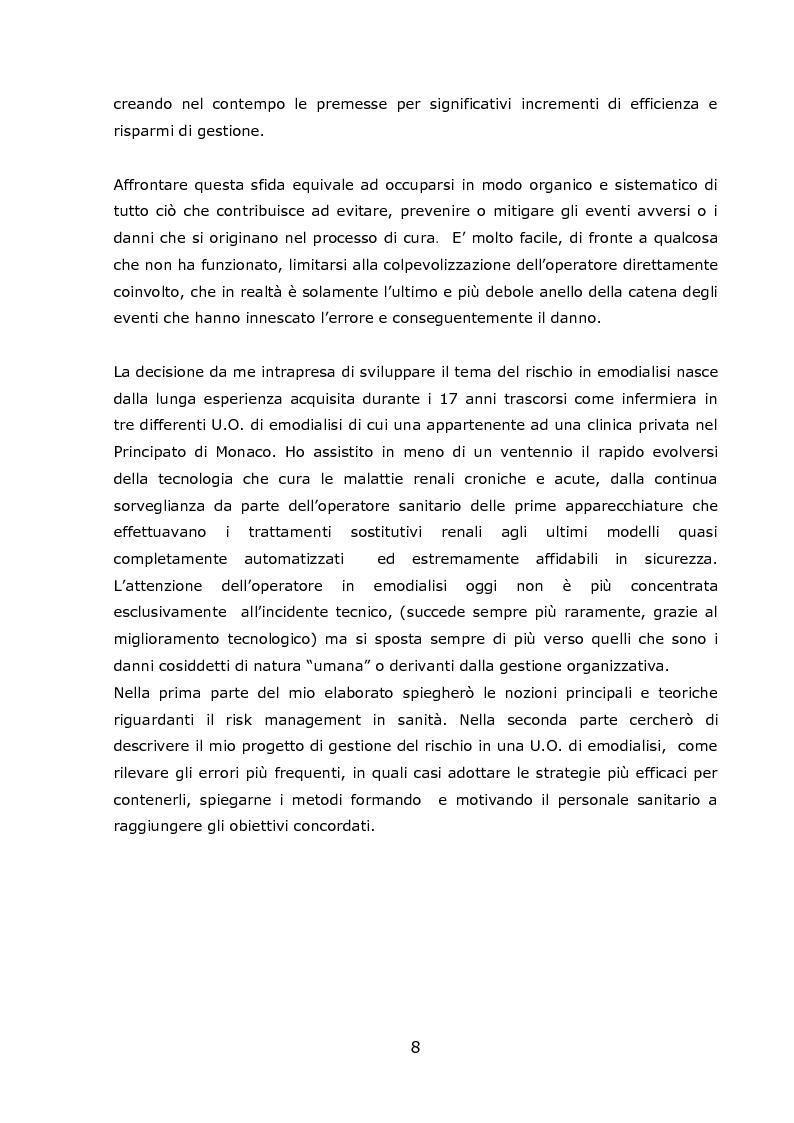 Anteprima della tesi: Progetto Sicurezza: qualità e competenza due fondamentali requisiti nella gestione del rischio clinico in emodialisi, Pagina 3